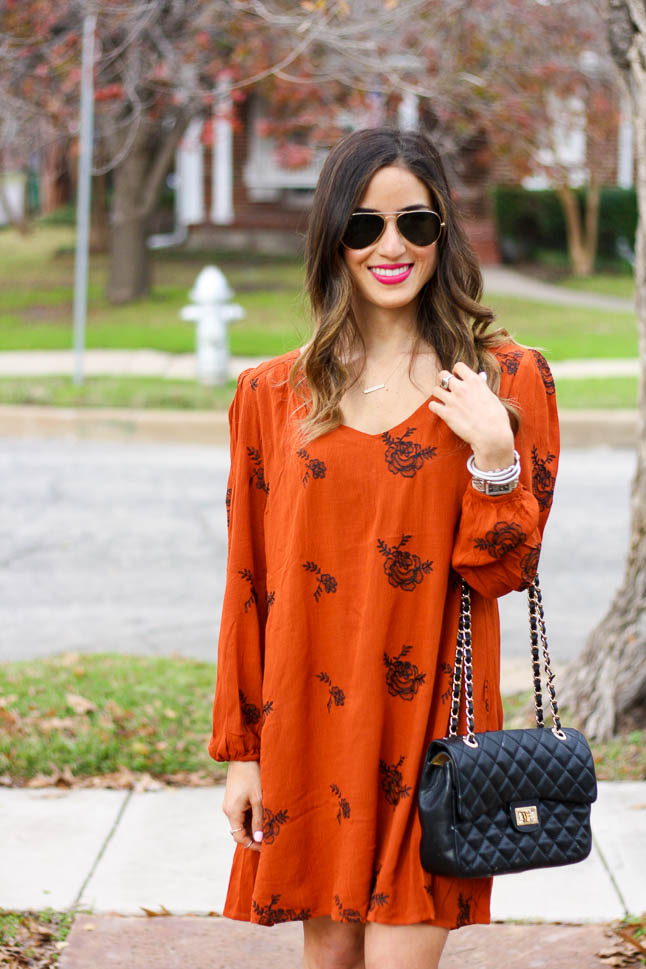 Embroidered Rust Dress with Rowme - this Free People lookalike is a fraction of the price and is adorable with heel or boots |adoubledose.com