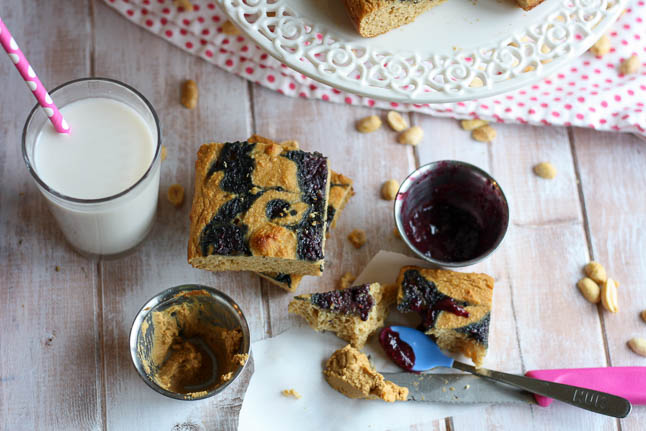 Peanut Butter Chia Jam Cake Bars - a healthy take on peanut butter and jelly packed with protein and fiber and gluten free   adoubledose.com
