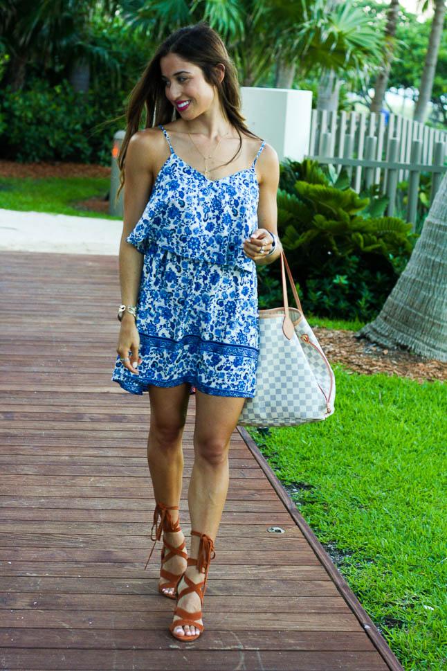Blue Printed Summer Dress | adoubledose.com