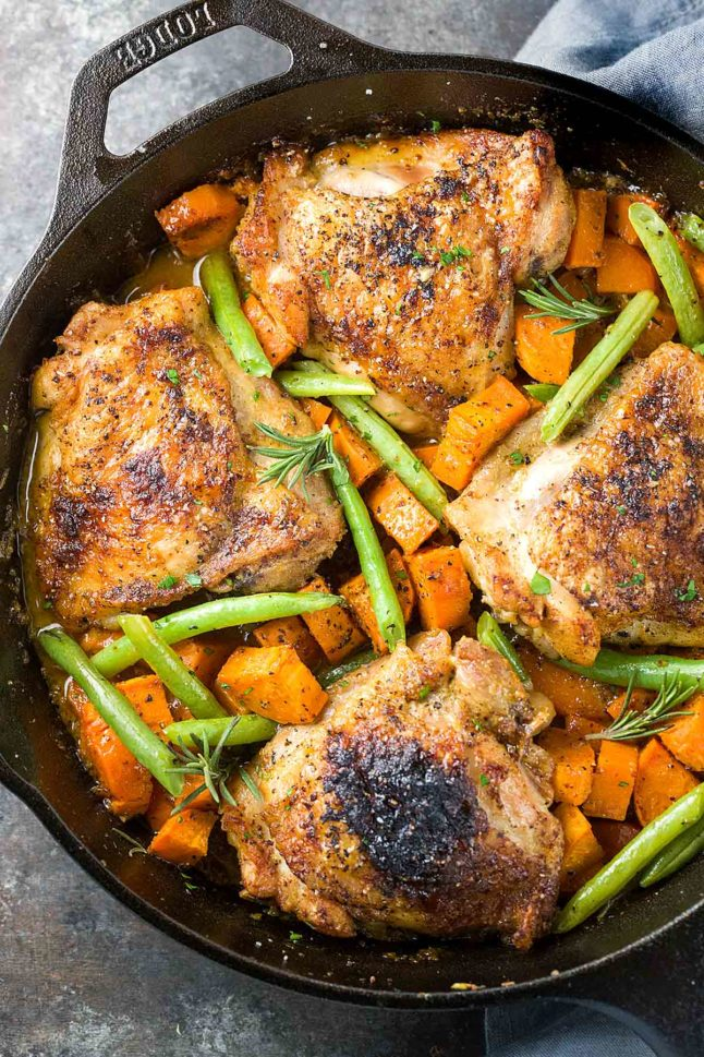 One Pan Mustard Baked Chicken - A Double Dose of Fitness | adoubledose.com