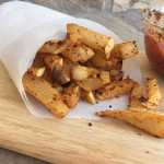Jicama Fries- Just as satisfying and a lot healthier and lower in carbs than real fries! Plus they're so easy to make and taste delicious with some ketchup or any dipping sauce you prefer! | Double Dose Fitness