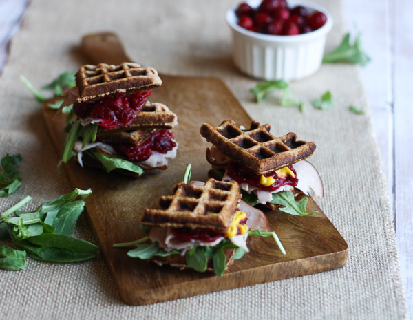 Ham, Cranberry, & Sweet Mustard Mini Wafflewiches - Perfect for on-th-go or busy days! The best part is you can eat these without making a huge mess AND they're packed with protein and flavor!   Double Dose Fitness