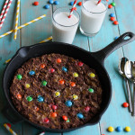 Gooey M&M Peanut Butter Chocolate Skillet Cake