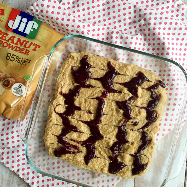 Peanut Butter Chia Jam Cake Bars - a healthy take on peanut butter and jelly packed with protein and fiber and gluten free | adoubledose.com