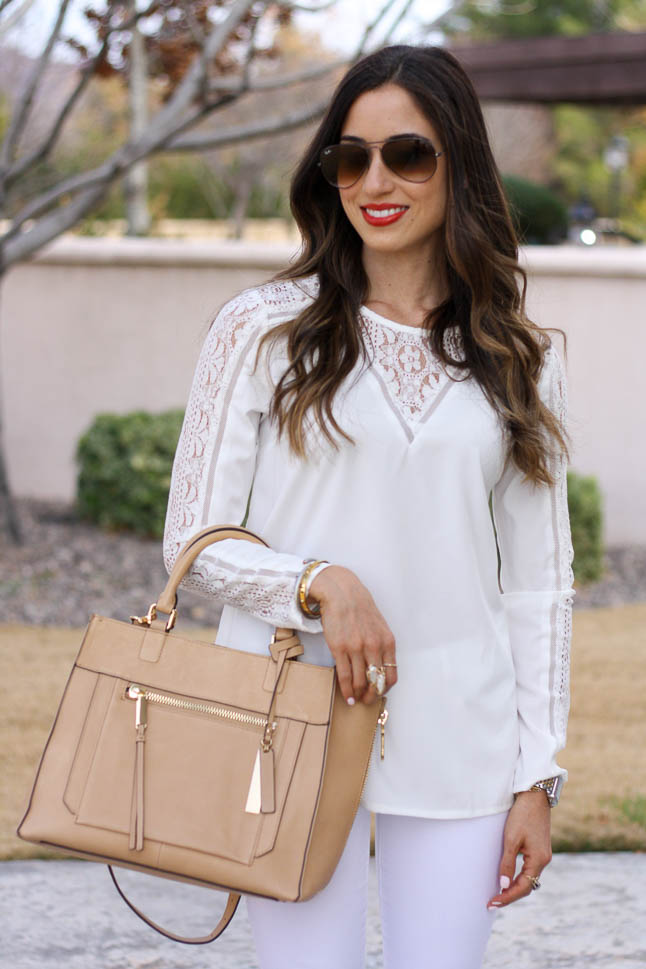 White Lace Top - a neutral lace top that adds a fun detail to any outfit |adoubledose.com