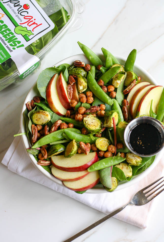 Crisp + Crunchy Winter Salad with Crisp Snap Peas, Fresh Apples, and Roasted Brussels Sprouts adoubledose.com