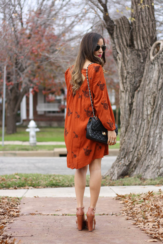 Embroidered Rust Dress with Rowme - this Free People lookalike is a fraction of the price and is adorable with heel or boots  adoubledose.com