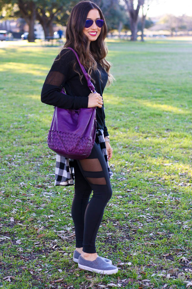 Pop Of Purple - an easy athleisure look with a pop of purple | adoubledose.com