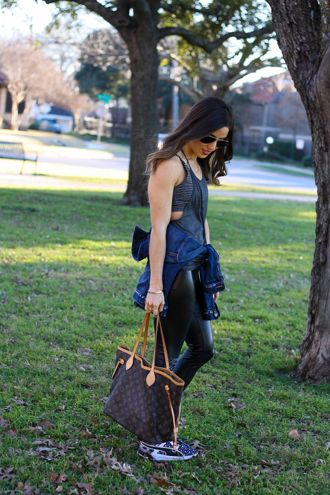 Easy Athleisure with Faux Leather Leggings | adoubledose.com
