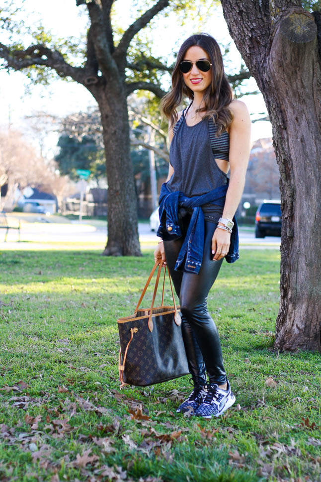 Easy Athleisure with Faux Leather Leggings   adoubledose.com