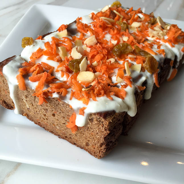 Gluten Free Carrot Cake Loaf - a gluten free carrot cake loaf packed with protein and fiber, and all guilt-free | adoubledose.com