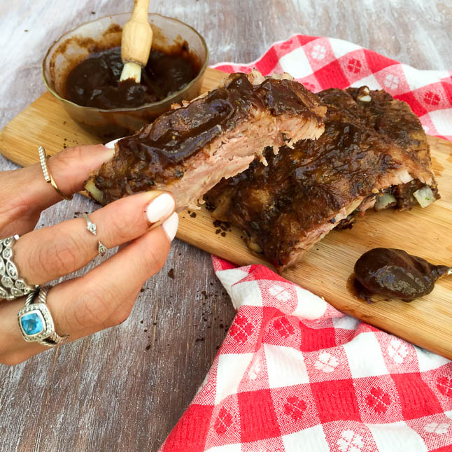 Coffee and Honey Barbecue Ribs with KC Masterpiece   adoubledose.com