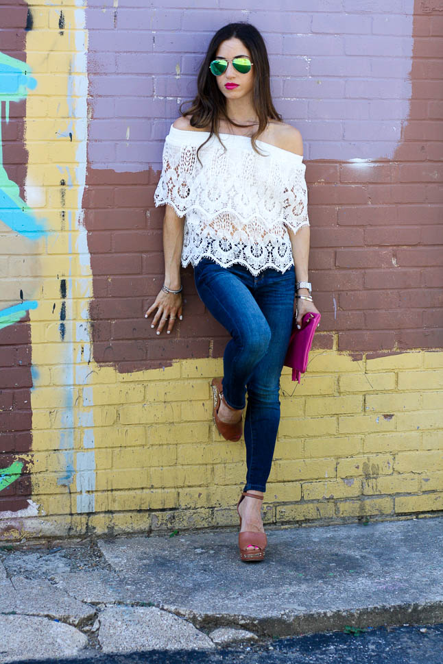 Lace Off The Shoulder - the cutest flirty spring off-the-shoulder top that is under $16   adoubledose.com