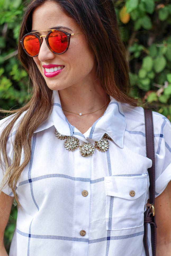 Window Pane Tie Up Blouse | adoubledose.com