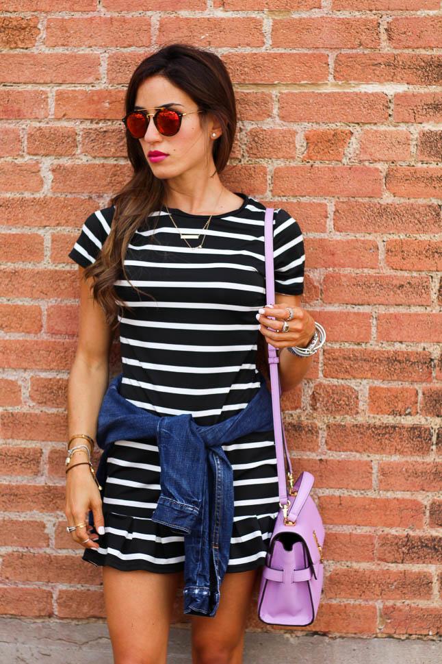 Striped Ruffle Dress | adoubledose.com