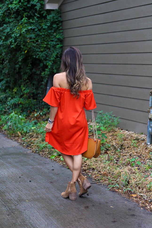 Red Off Shoulder Dress | adoubledose.com