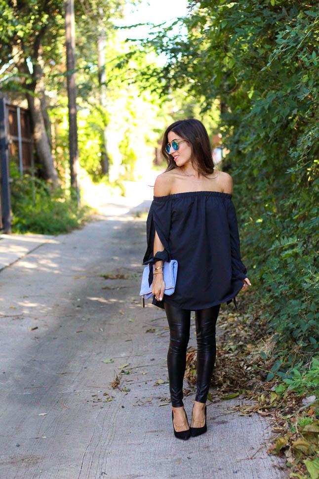 Black Off Shoulder Tunic