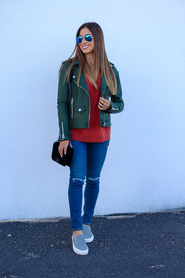Green Moto Jacket | adoubledose.com