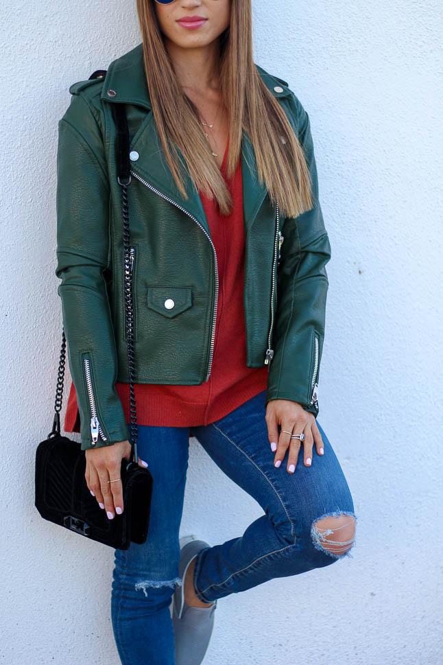 Green Moto Jacket | adoubledose.com