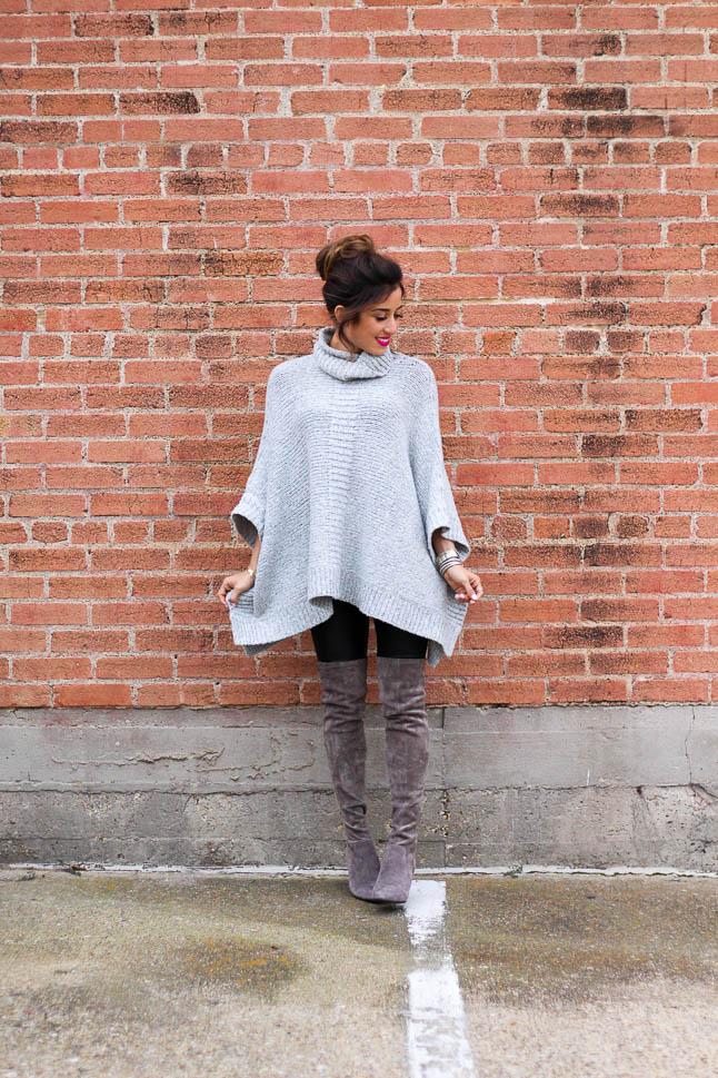 Grey Poncho Sweater | adoubledose.com