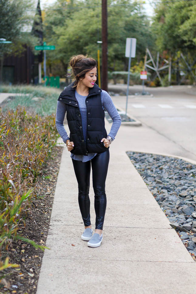 Styling A Puffer Vest - a cute (and comfy) way to wear a puffer vest | adoubledose.com