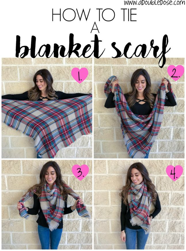 How To Tie A Blanket Scarf- the easiest way to wrap a blanket scarf in 4 easy steps | adoubledose.com