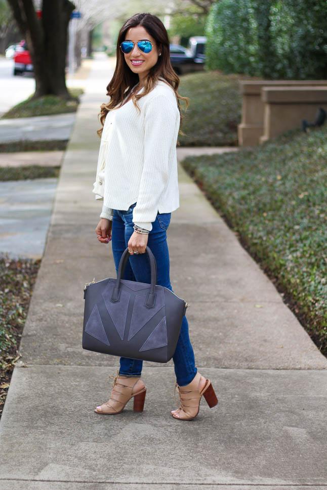 Cream Lace Up Sweater | adoubledose.com=o
