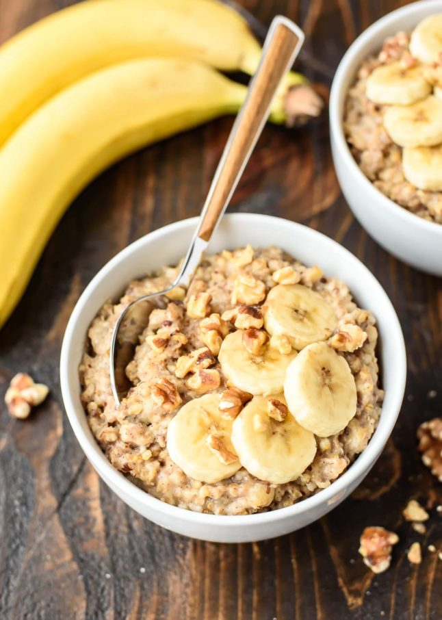 Slow Cooker Banana Bread Oatmeal - Double Dose of Fitness | adoubledose.com