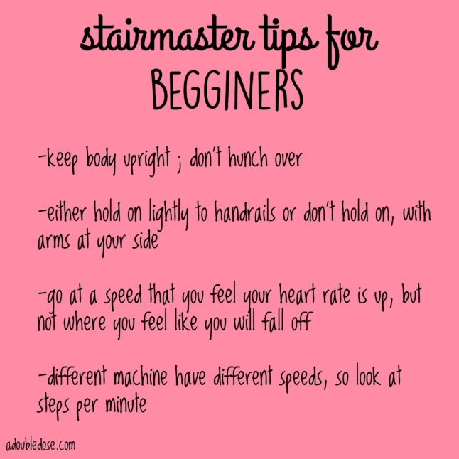 Stairmaster Tips for Beginners - A Double Dose Of Fitness | adoubledose.com