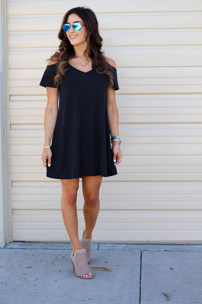 Cold Shoulder Swing Dress | adoubledose.com