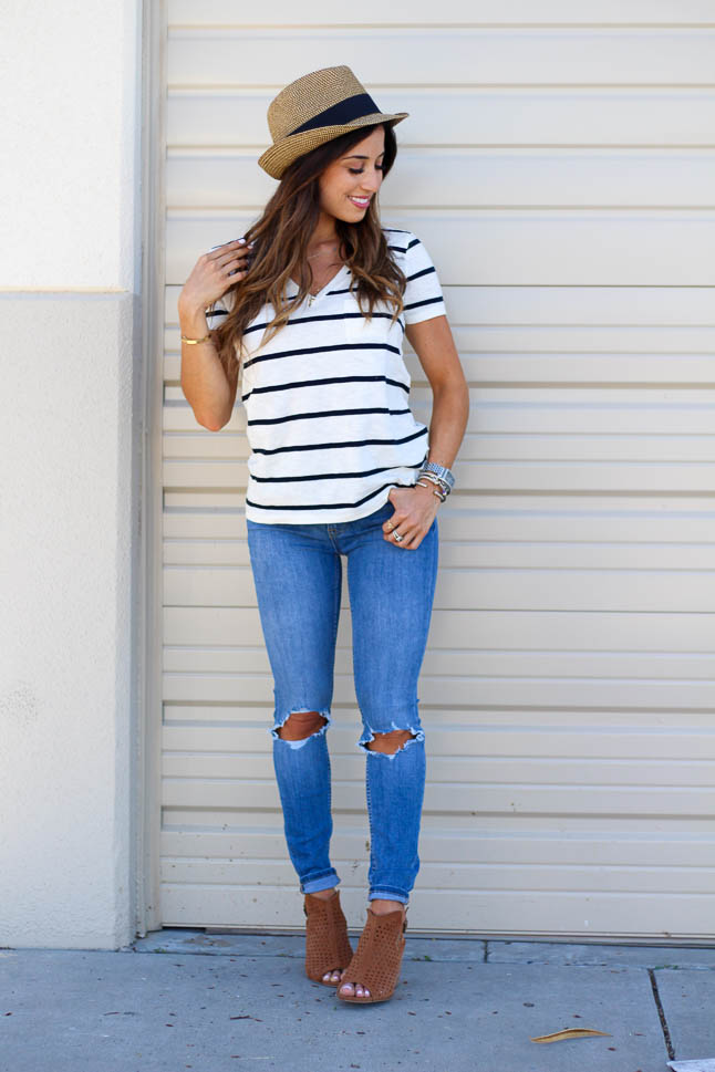 Striped V-Neck Tee for $25