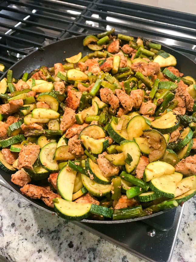 Asparagus, Zucchini, and Chicken Skillet | adoubledose.com