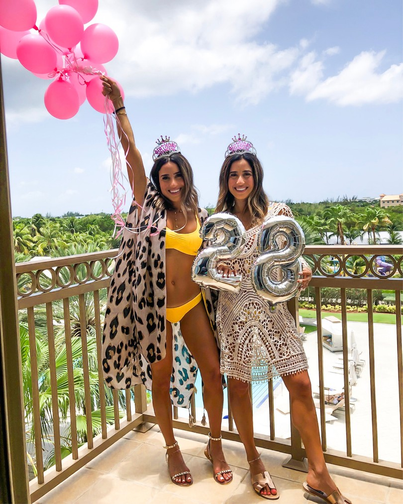 fashion blogger identical twins wearing yellow bikini and leopard cover up kimono and knitted amazon cover up