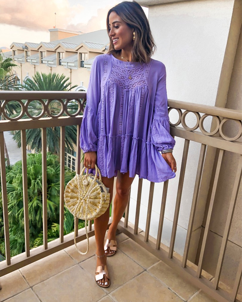fashion blogger wearing purple free people kiss kiss tunic and sole society round straw bag