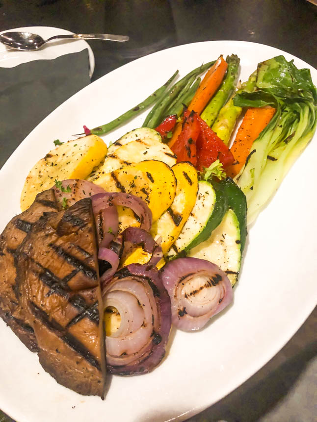 Roasted vegetable platter at Saltwater Grill in Grand cayman island great for plant based vegan food