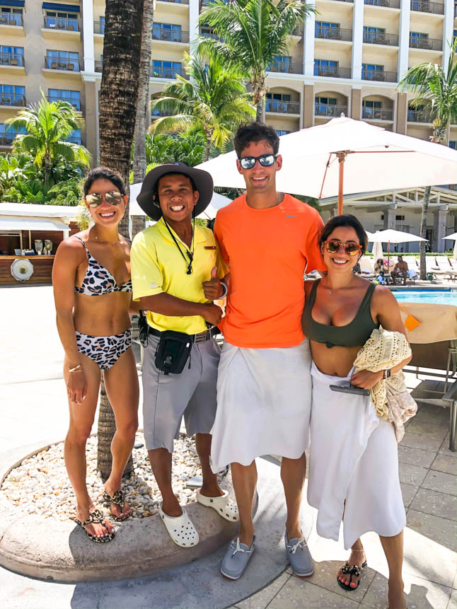 hanging out with a staff member at the Ritz carlton grand cayman