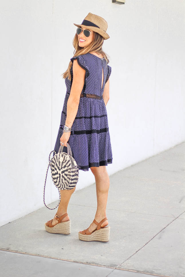 fashion blogger wearing a free people flowy dress with sam edelman neutral wedges with a round straw bag | adoubledose.com