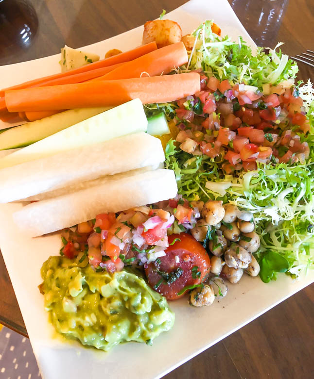 raw vegetables with guacamole and dips at the ritz carlton grand cayman