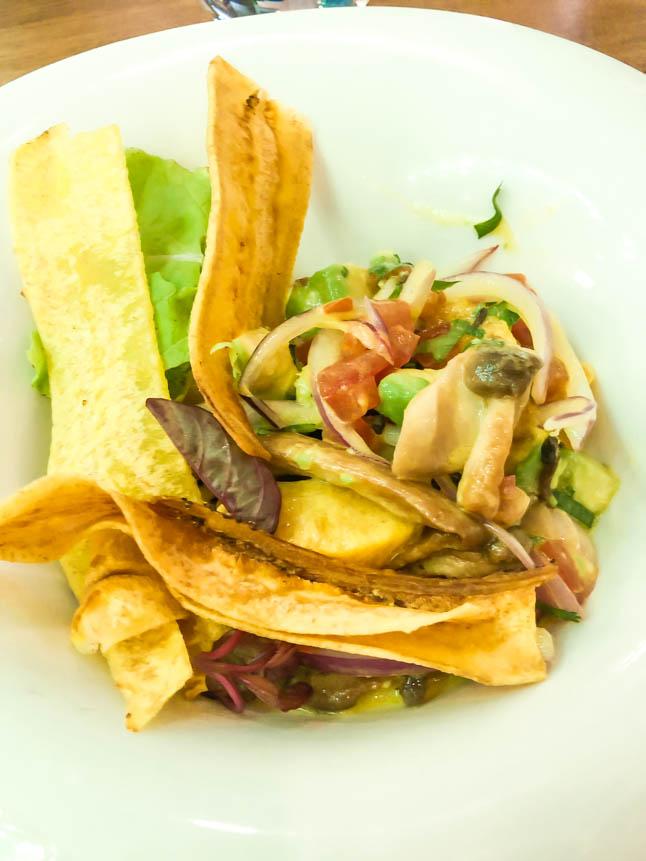 vegan ceviche at Agua restaurant in grand cayman island