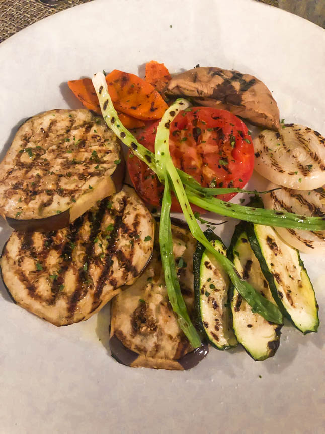 roasted and grilled vegetables at LeVele Restaurant Grand Cayman Islands