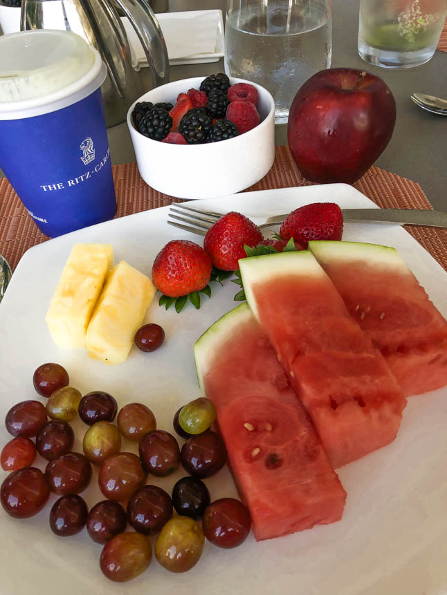 fresh fruit: watermelon, grapes, berries at the ritz carlton grand cayman