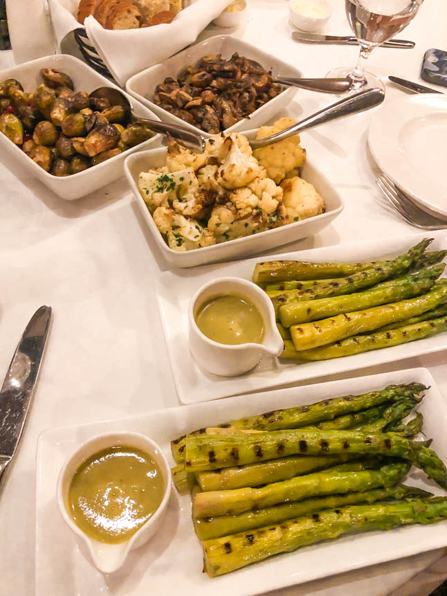 roasted asparagus, cauliflower, mushrooms, brussels sprouts at Papagallo Restaurant in Grand Cayman