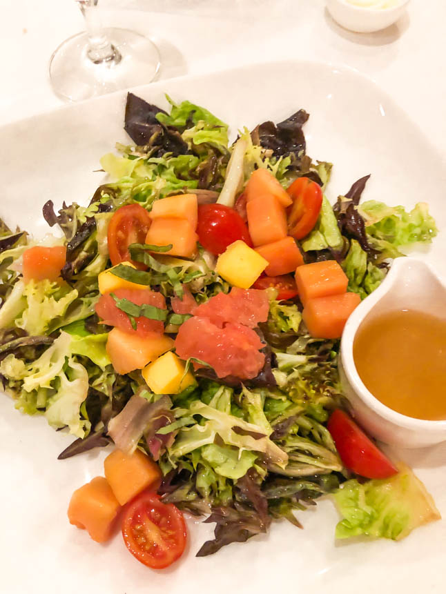 tropical salad with lobster mango and papaya at the Marriott grand cayman