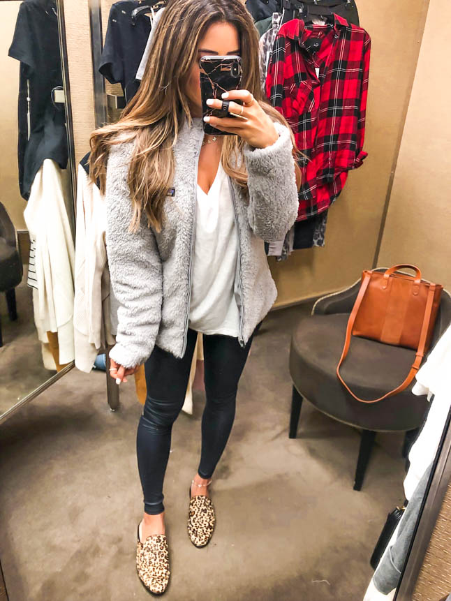 lifestyle and fashion bloggers Alexis and Samantha Belbel of aodubledose.com sharing what they bought at the Nordstrom Anniversary Sale 2019: activewear, booties, designer jeans, leather jacket, basic tees, cardigans, home decor