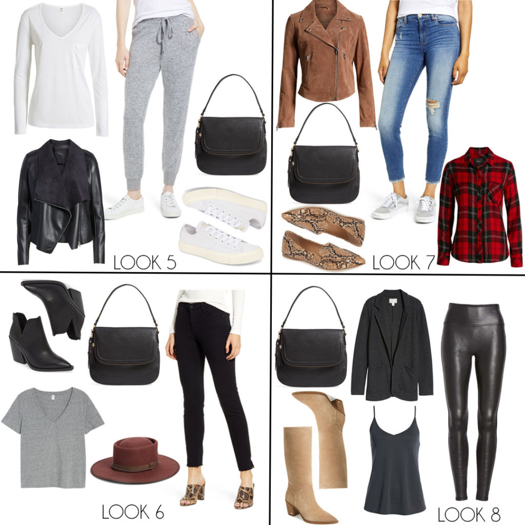 lifestyle and fashion bloggers alexis and samantha belbel of adoubledose.com share their fall capsule wardrobe ideas featuring items from the 2019 Nordstrom Anniversary Sale like leather jackets, plaid shirts, jeans, and booties.