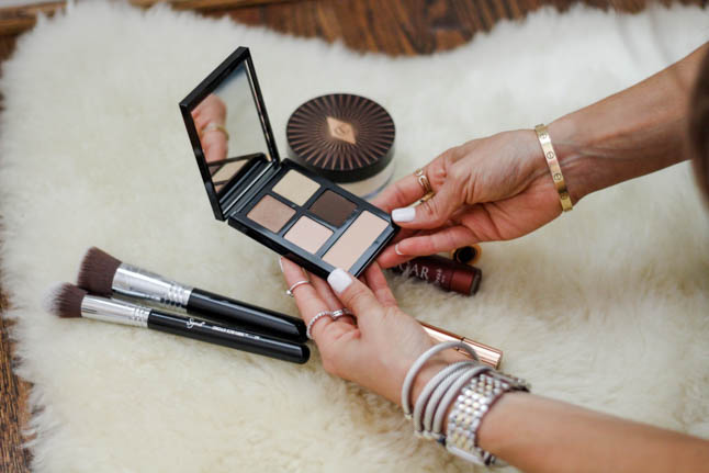 lifestyle and fashion blogger samantha belbel of a double dose sharing her favorite luminous makeup products from nordstrom including this Bobbi Brown eyeshadow palette, charlotte tilbury matte lipstick, charlotte tilburry genius magic powder, and charlotte tilbury magic away concealer