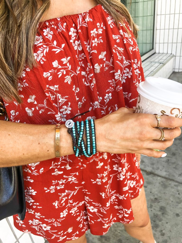 fashion and lifestyle blogger alexis belbel wearing victoria emerson beaded wrap bracelet that is buy one, get one half off (BOGO)