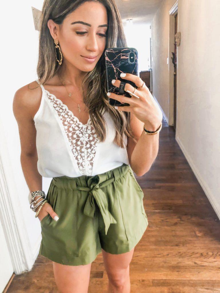 fashion and lifestyle blogger samantha belbel wearing  a white lace cami