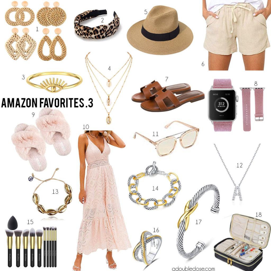 lifestlye and fashion blogger alexis and samantha belbel share their favorite amazon finds on prime: cable bracelets, apple watch bands, panama hat, leopard heaband