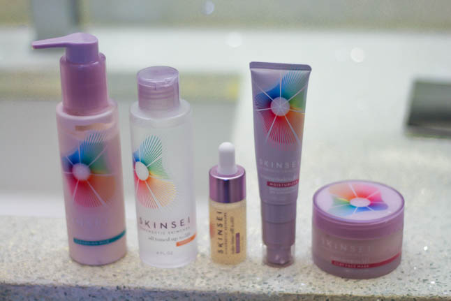 lifestyle blogger alexis belbel of a double dose shares her personalized skincare routine with Skinsei based on her diagnostic wearing a Natori lace pajama set